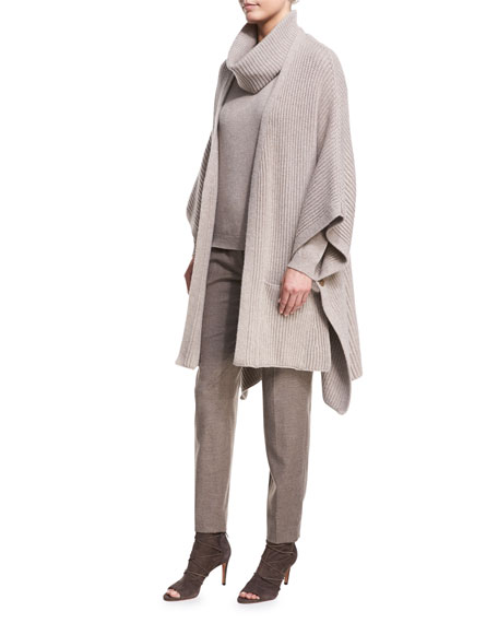 Escada Macro-Ribbed Wool-Cashmere Cape with Fur Pompoms