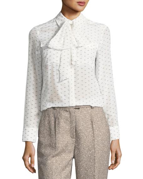 Elephant-Print Silk Necktie Blouse