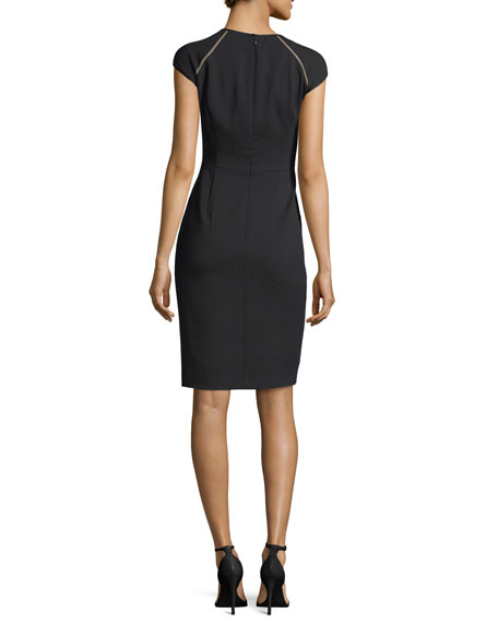 Cap-Sleeve Virgin Wool Crepe Sheath Dress, Black