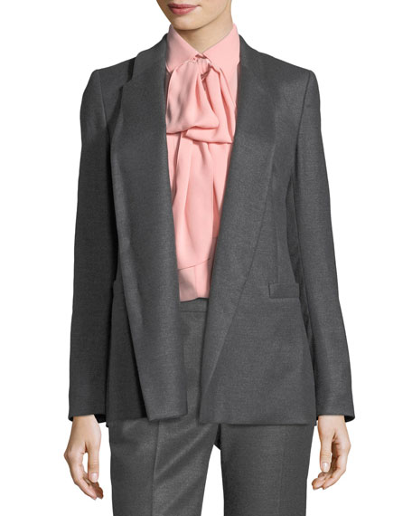 Escada Open-Front Shawl-Collar Flannel Blazer