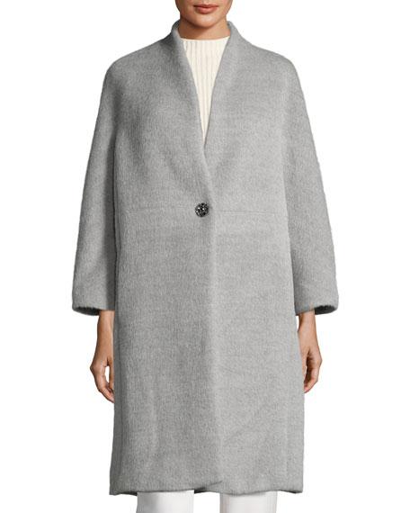 Collarless Alpaca-Wool Car Coat