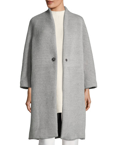 Collarless Alpaca-Wool Car Coat