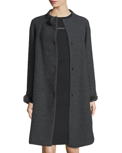 Collarless Mink-Trim Tweed Coat