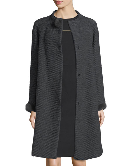 Escada Collarless Mink-Trim Tweed Coat