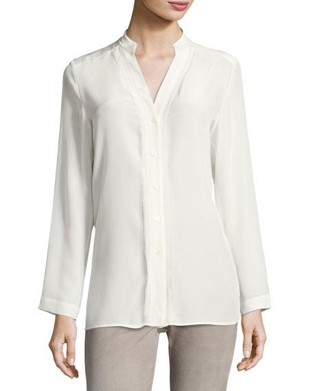 Silk Stand-Collar Shirt