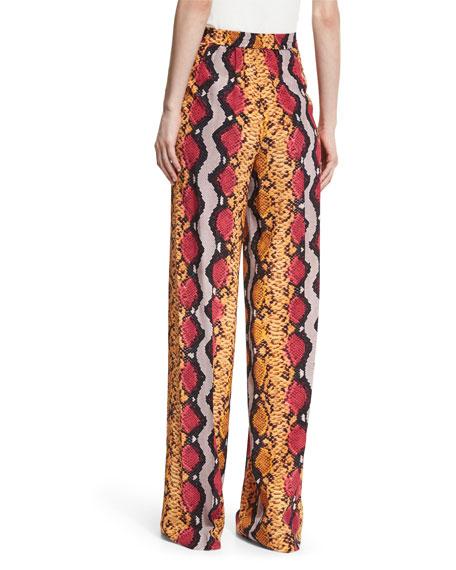 Snake-Print Wide-Leg Pants