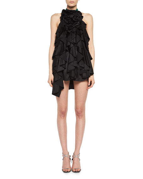 Saint Laurent Floral-Ruffle Silk Satin Halter Minidress