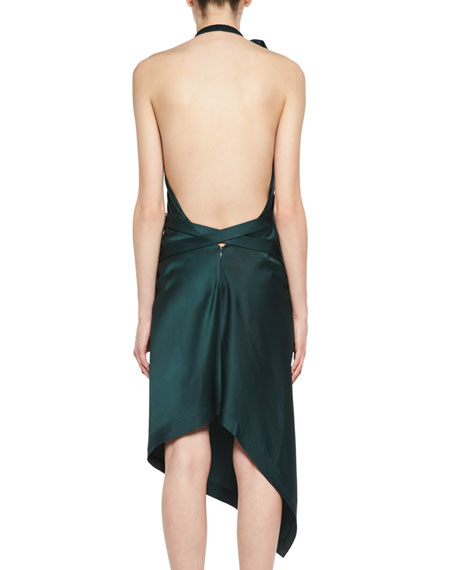 Backless Satin Halter Dress
