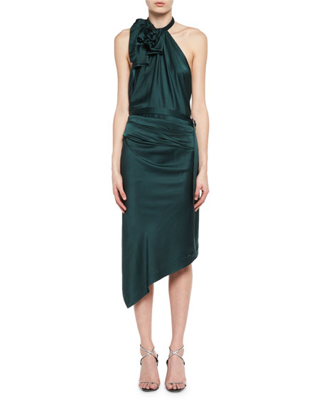 Backless Satin Halter Dress