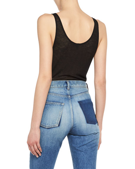 Ribbed Jersey Scoop-Neck Tank