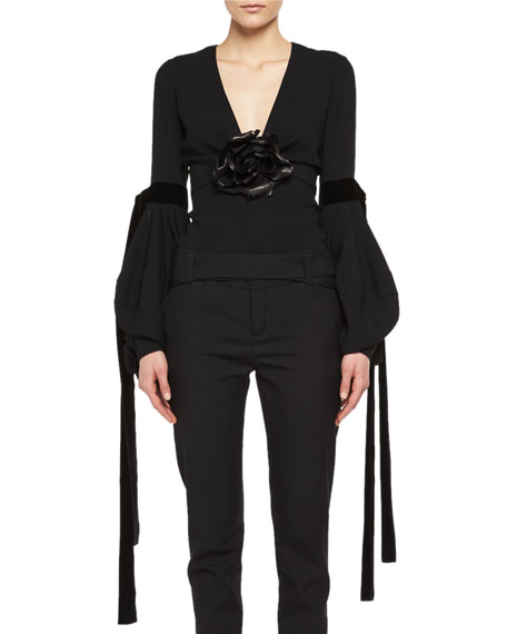 Saint Laurent Bishop-Sleeve Top with Leather Flower and