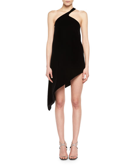 One-Shoulder Asymmetric Velvet Dress