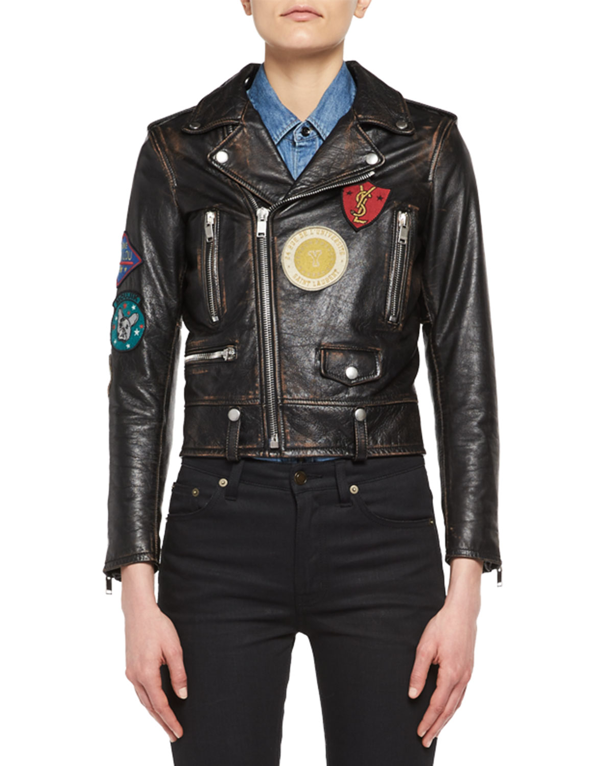 22210829a2b Saint Laurent Leather Moto Jacket with Patches | Neiman Marcus