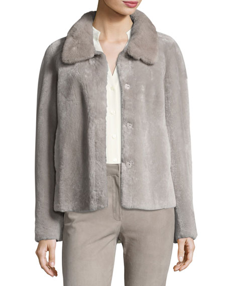 Escada Tuscan Lamb Fur Jacket with Mink Collar
