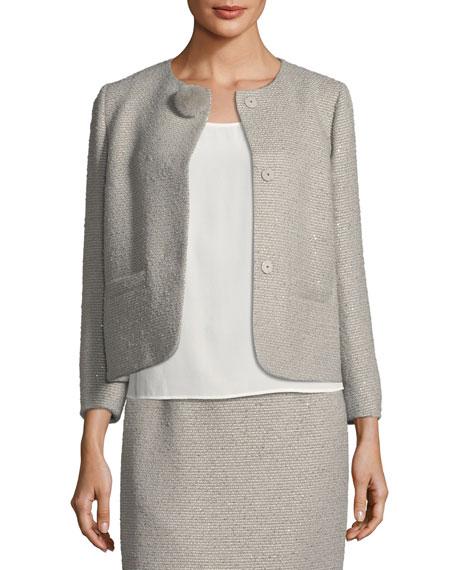 Sequined Tweed Jacket with Fur Pompom