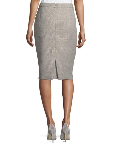 Ravas Sequined Tweed Pencil Skirt