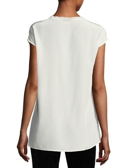 V-Neck Cap-Sleeve Silk Tunic Blouse w/ Fringed Trim