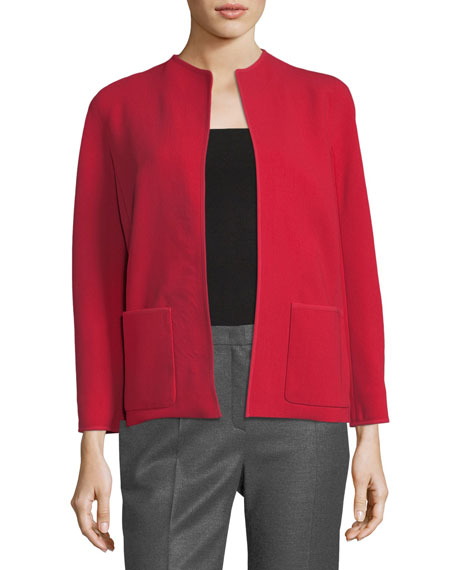 Escada Collarless Open-Front Topper Jacket