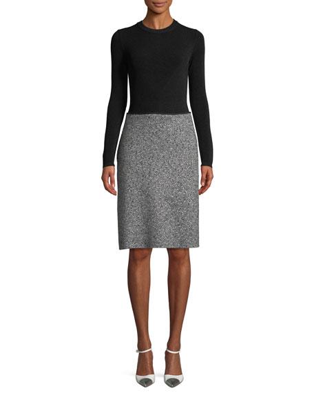 Escada Long-Sleeve Diagonal Tweed Skirt Knit Top Dress