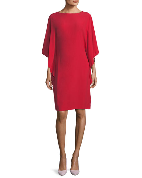 Cape-Sleeve Boat-Neck Dress