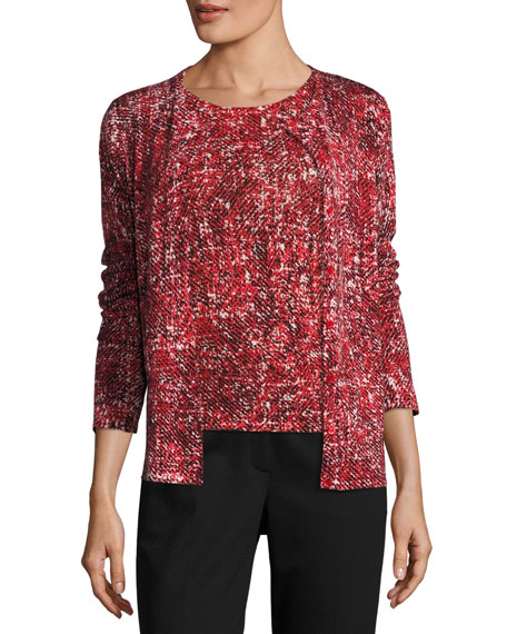 Escada Tweed-Print Cashmere Cardigan and Matching Items