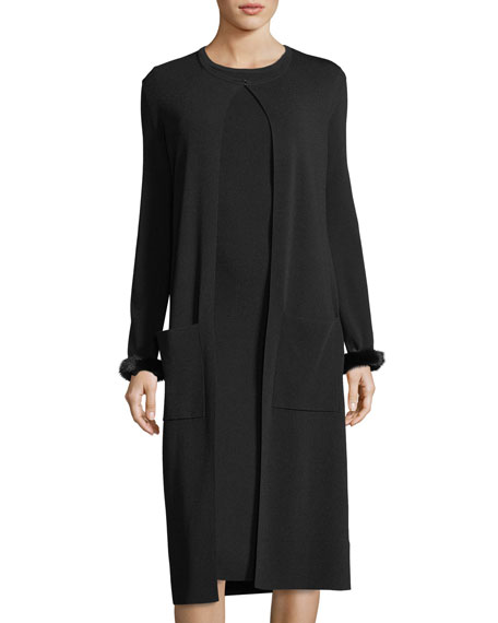 Mink-Cuff Long Duster Cardigan