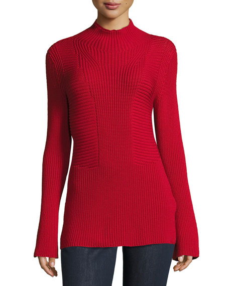 Escada Mock-Neck Bell-Sleeve Virgin Wool Sweater and Matching