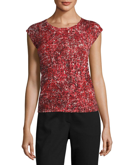 Escada Tweed-Print Cashmere Cardigan and Matching Items
