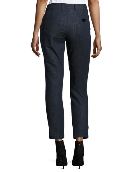 J477 Slim Ankle Jeans with Faux-Leather Stripe