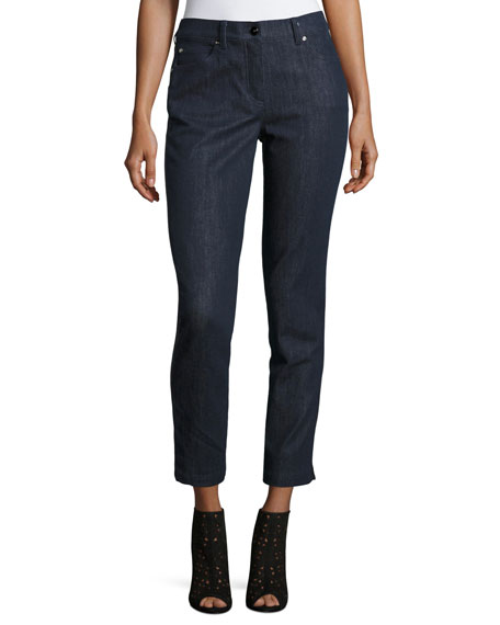 Escada J477 Slim Ankle Jeans with Faux-Leather Stripe