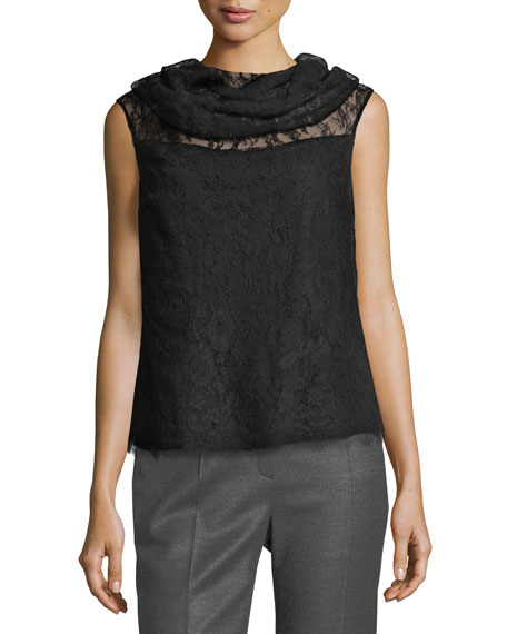 Escada Chantilly Lace Cowl-Neck Top