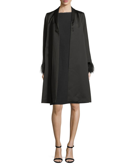 Feather-Cuff Satin Jewel-Button Coat
