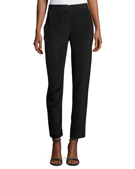 Escada Tullule Crystal-Embellished Silk Ankle Pants and Matching