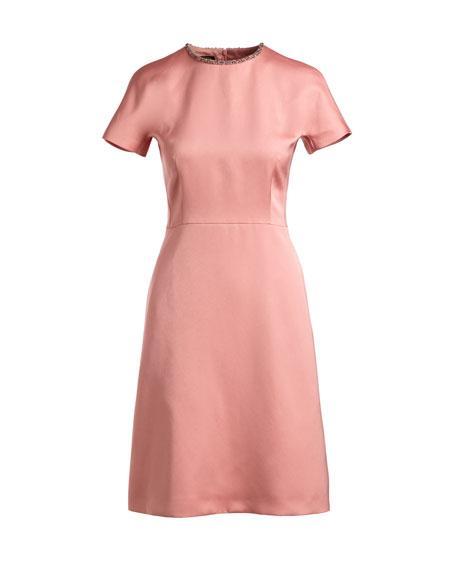 Satin Embellished-Collar A-Line Cocktail Dress