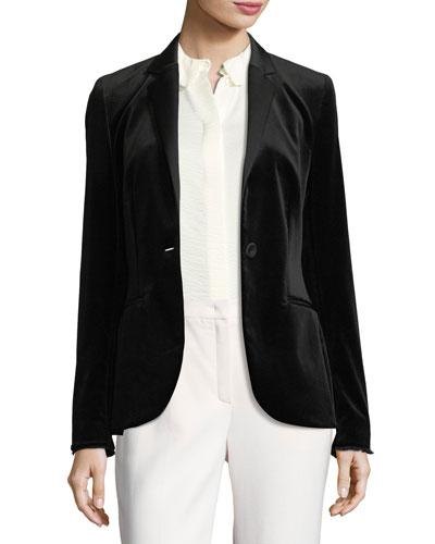 Velvet Tuxedo Jacket, Black