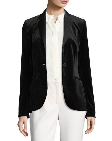 Escada Velvet Tuxedo Jacket, Black