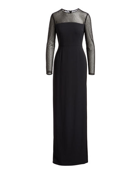 Mesh-Yoke Long-Sleeve Gown