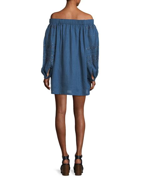 Embroidered Linen Off-the-Shoulder Minidress