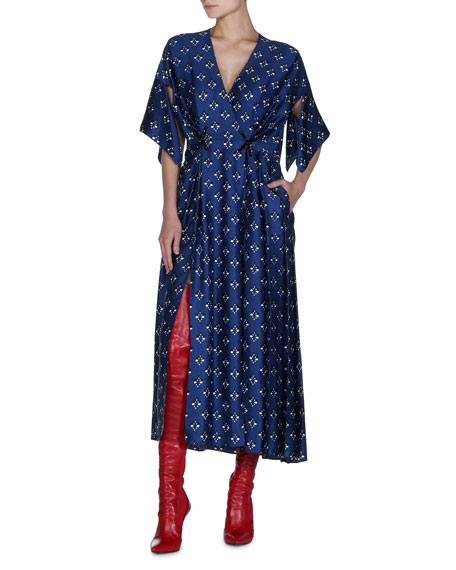 Embroidered Satin Midi Dress
