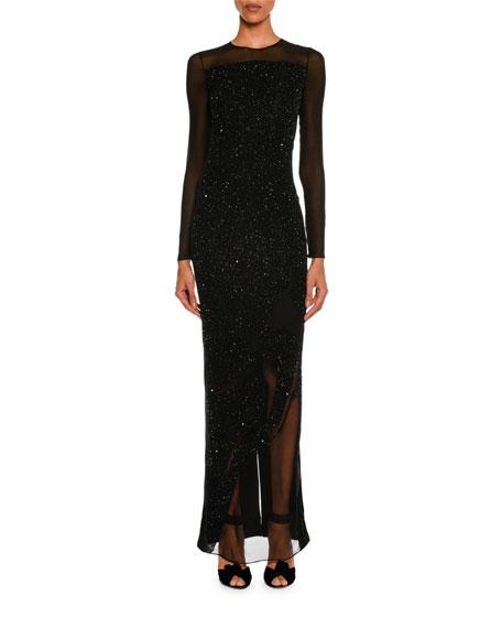 Sequined Velvet Long-Sleeve Gown