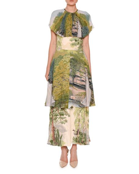 Stella McCartney Landscape-Print Tiered Capelet Dress, Multi