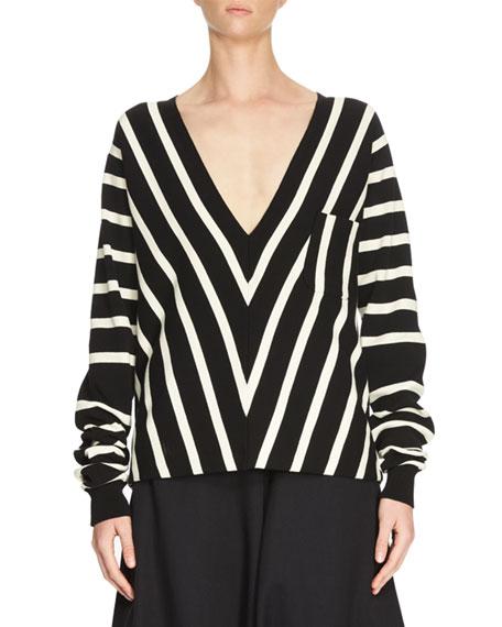 Chloe Chevron V-Neck Knit Top, Black/White