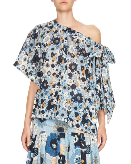 Floral Slouchy Half-Sleeve Blouse