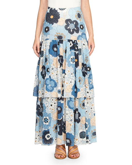 Chloe Tiered Floral Maxi Skirt