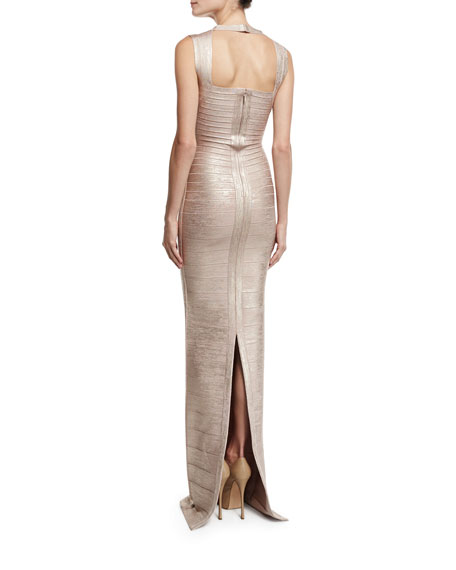 Cap-Sleeve V-Neck Bandage Gown, Rose Gold