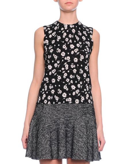 Dolce & Gabbana Floral-Print Shell Top, Black/White