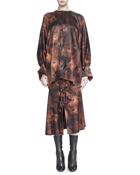 Vintage Peacock-Print Cascading Ruffle Skirt