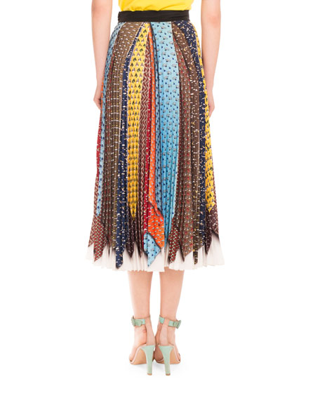 Animal-Tie Printed Pleated Midi Skirt, Multi