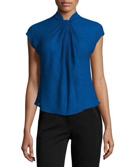 Giorgio Armani Gathered Organza Cap-Sleeve Blouse, Blue