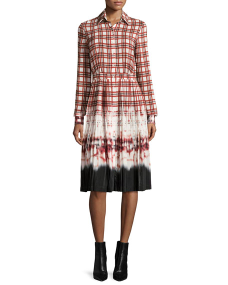 Maria Plaid Tie-Dye Voile Shirtdress